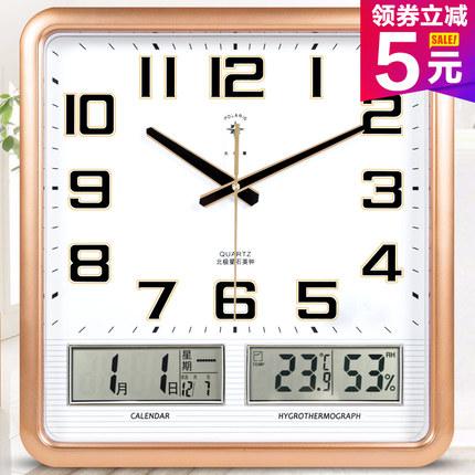 北极星电子挂钟客厅卧室钟表创意静音个性时尚日历时钟石英钟家用