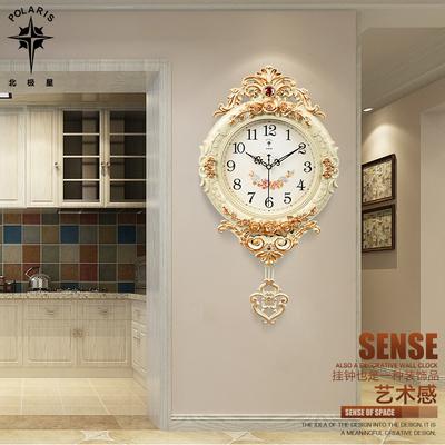 北极星欧式钟表创意挂钟摇摆时尚挂墙挂表静音客厅时钟石英钟家用
