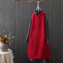 中长款针织马甲女纯色条纹连帽针织衫无袖毛线毛衣宽松百搭背心裙