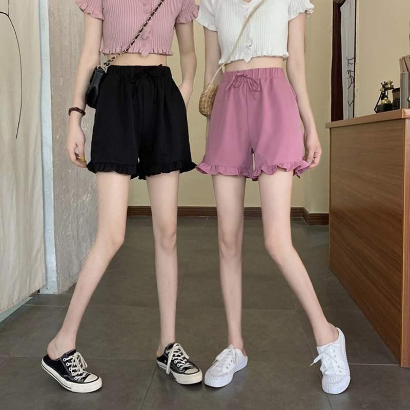 New casual pants womens summer thin 2021 Ruffle sports pants tide high waist thin straight tube wide leg shorts