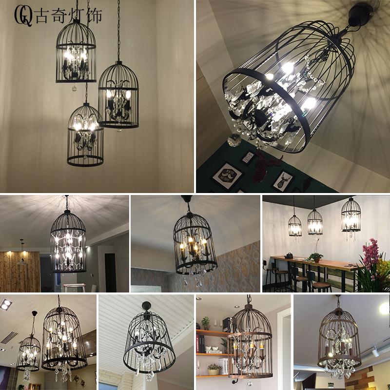 美式水晶鸟笼吊灯铁艺复古餐厅酒吧楼梯个性创意服装店工业风灯具