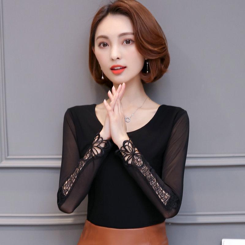 春秋修身女装新款百搭时尚低领蕾丝上衣长袖T恤黑色网纱打底衫潮