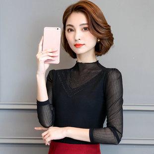 恤百搭网纱外穿秋衣上衣T春装蕾丝打底衫女长袖新款韩版修身2020