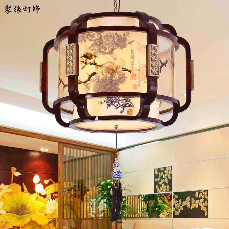 中式复古实木吊灯 餐厅茶楼包房客厅灯饰 仿古创意中国风羊皮灯具-聚缘中式灯饰