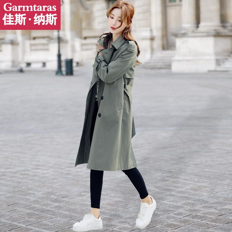 风衣女中长款韩版春季2018新款lulu双排扣春秋chic英伦薄款单外套