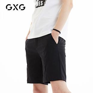 夏季 GXG男装 微弹纯色潮流宽松黑色短裤 修身 男 男士