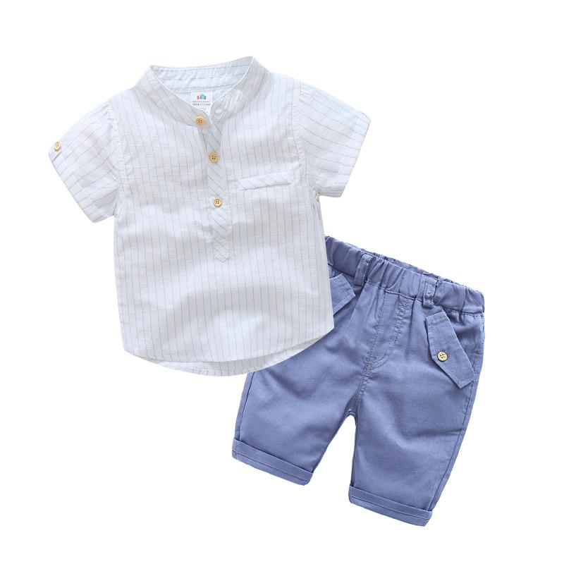宝宝竖条套装 2019夏装新款男童童装儿童短袖衬衫中裤子tz-3891券后56.00元