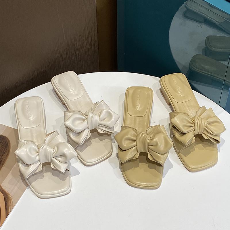 蝴蝶结拖鞋女夏外穿ins仙女风2021年新款时尚中跟百搭法式小凉拖