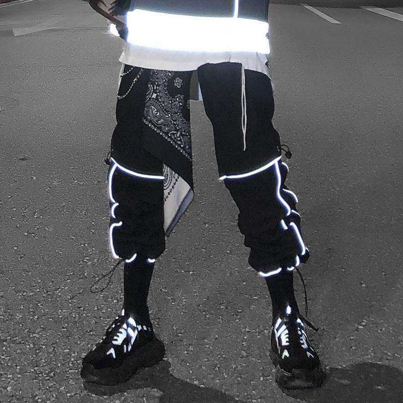 满168.00元可用1元优惠券高街暗黑3m男潮流束脚裤黑反光裤子