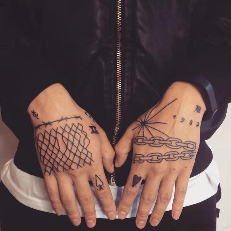 纹身贴防水男女持久双手背手指锁链嘻哈风网红潮人必备满九元包邮(用1元券)