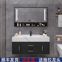 卫生间洗漱台卫浴套装浴室柜组合大理石洗手洗脸洗面盆柜现代轻奢