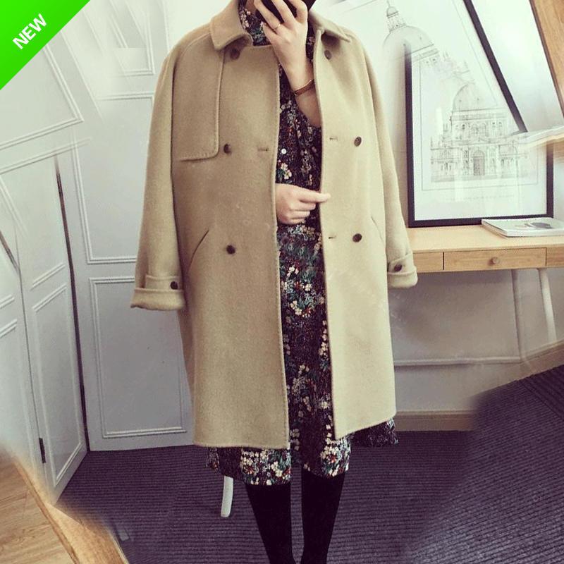 卡其色毛呢外套女2018冬装新款流行赫本风森系羊毛中长款呢子大衣