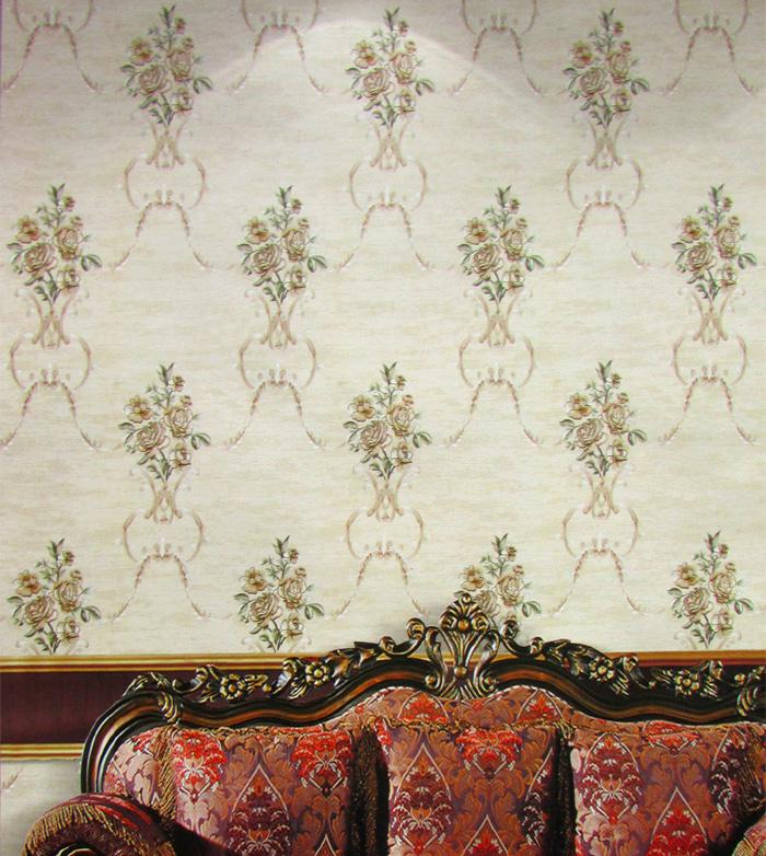 重庆实体店高端奢华美式乡村田园大花朵刺绣无缝墙布客厅卧室壁布169.00元包邮