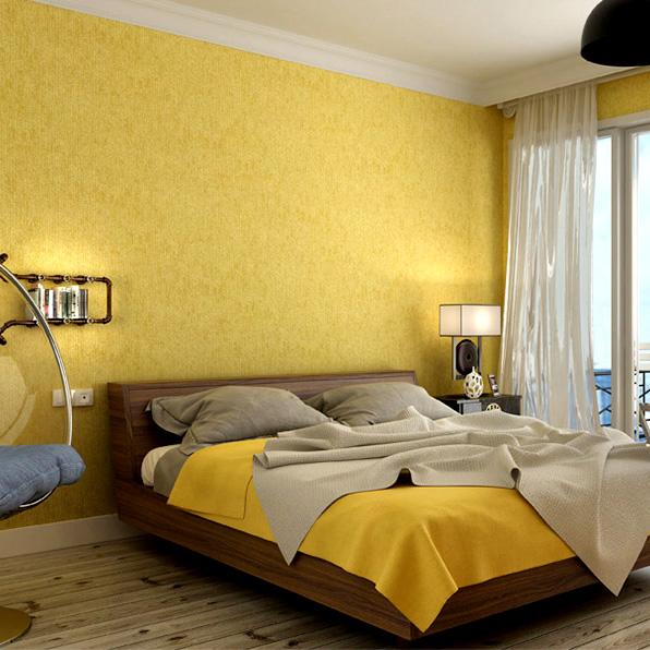 (用1元券)重庆实体店 黄色轻奢北欧现代素色竖条纹无缝墙布客厅卧室壁布