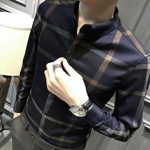 春装格子长袖衬衫男韩版修身男士休闲衫衣潮流帅气衬衣商务男装寸