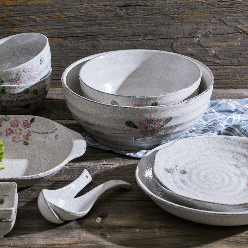 Japanese tableware bowl and plate set household small fresh Japanese style and wind exquisite cuisine high color Cherry Blossom ceramic microwave
