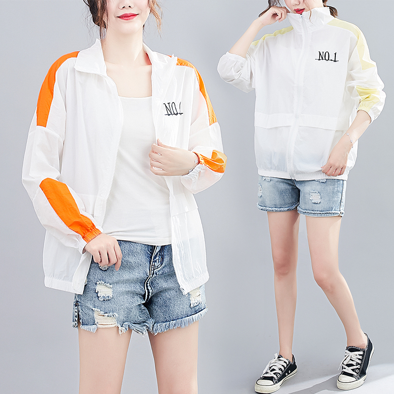 Real shot casual loose size womens embroidered top sunscreen clothing