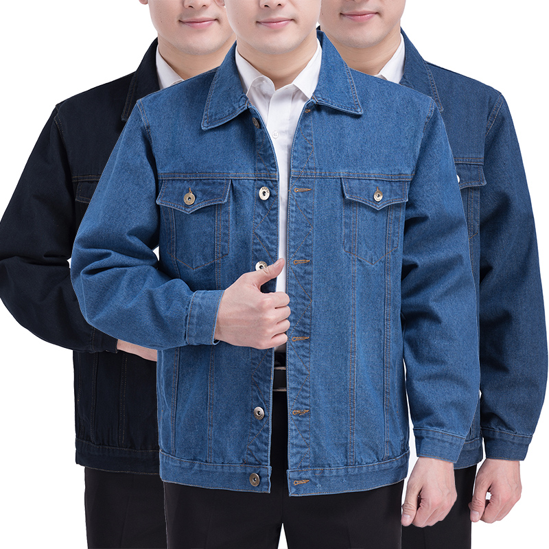 Spring and autumn middle aged mens jacket casual mens jacket male father middle aged denim cotton jacket mens coat