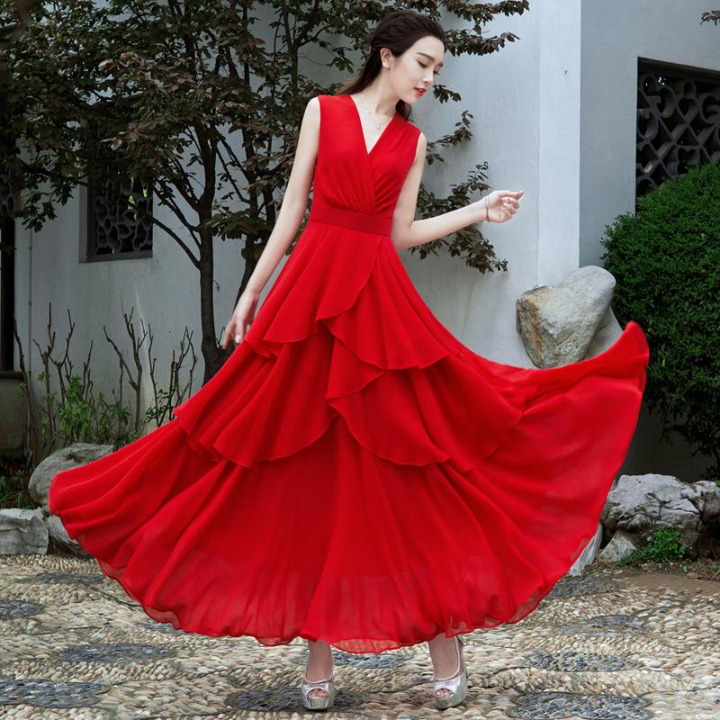 12月02日最新优惠2019夏季新款女气质复古红色雪纺长裙燕尾大摆V领海边度假连衣裙