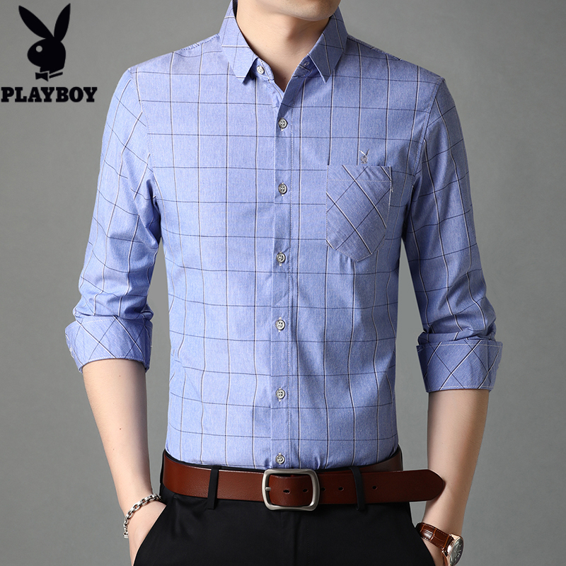 Playboy mens thin spring young and middle-aged easy to iron long sleeve shirt casual business Korean shirt