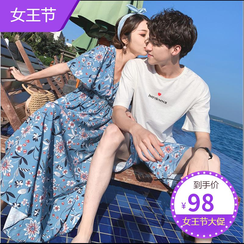 Summer new seaside holiday travel couple round neck Korean Short Sleeve mens summer casual dress womens fashion