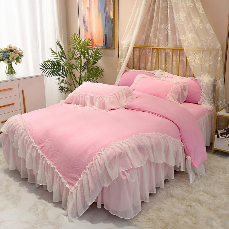 雪纺纱粉色蕾丝公主风床裙四件套好用吗?
