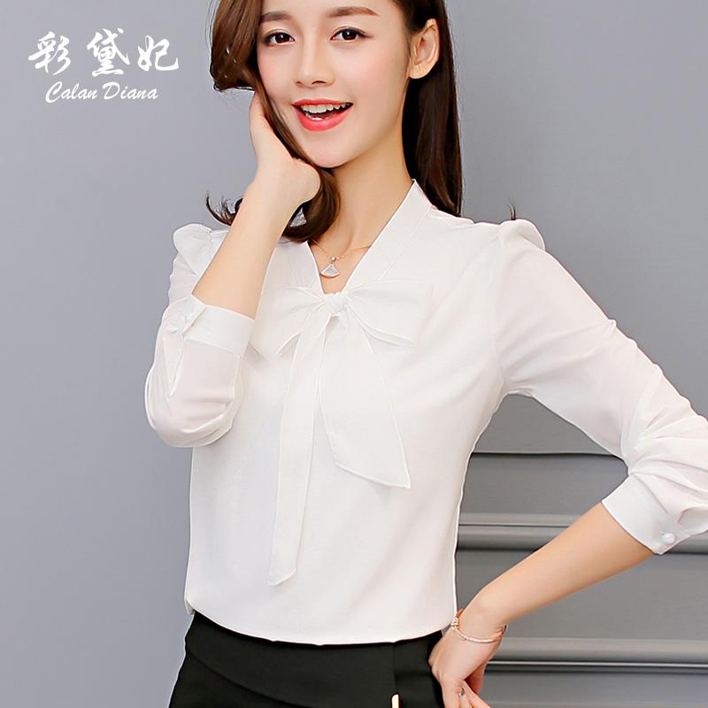 彩黛妃2018春夏新款韩版女装百搭衬衣长袖打底白衬衫上衣雪纺衫