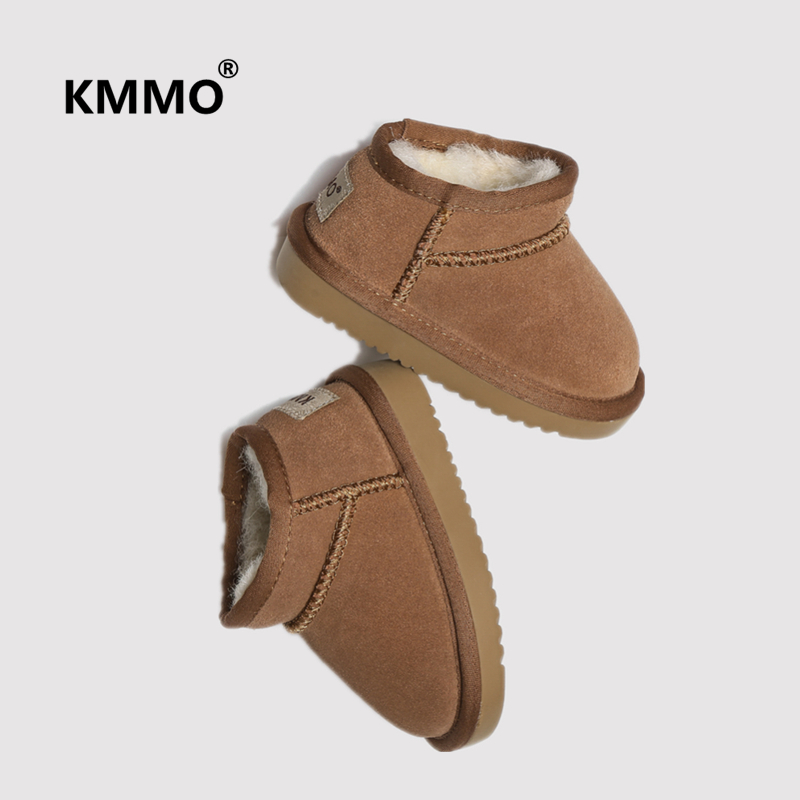 Kmmo leather childrens snow boots baby girls short boots boys parents and childrens cotton shoes Plush warm wool waterproof