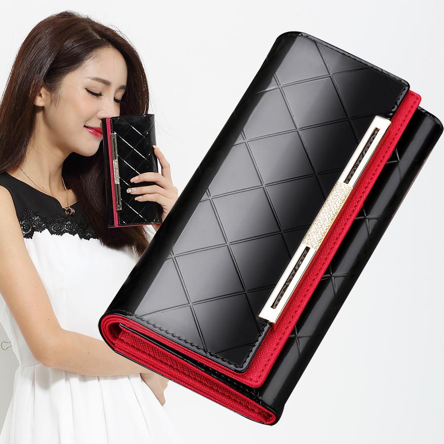 法拉保罗女士钱包长款牛皮韩版皮夹女式手拿包搭扣手包女包大容量