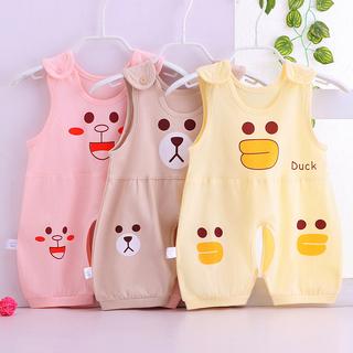 夏装哈衣薄款新生儿衣服婴儿连体衣无袖纯棉卡通爬服男女宝宝睡衣
