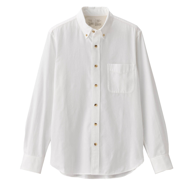 MUJI men's new Xinjiang cotton flannel button collar shirt