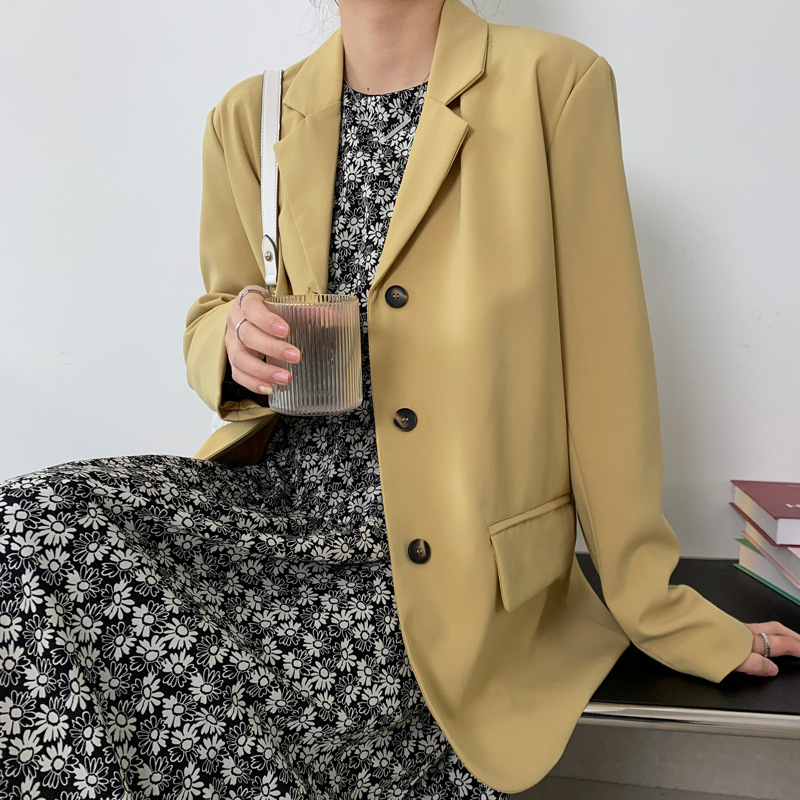 Solid color suit coat womens single breasted loose Hong Kong Style Korean leisure long sleeve spring regular apricot ginger