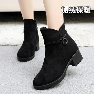 老北京布鞋女靴冬季保暖加厚棉鞋高跟时装靴短靴女加绒女鞋