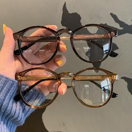 韩版复古黑色圆形眼镜框粗边框男原宿圆脸素颜平光配近视女网红潮