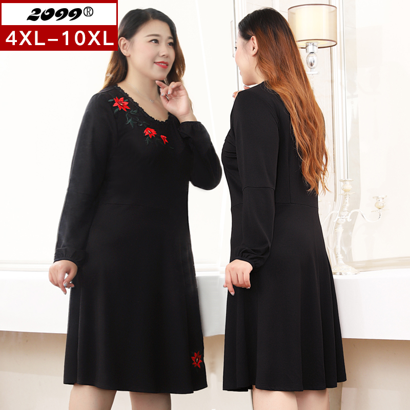 Womens Plus Size Womens dress spring and autumn fat mm long sleeve embroidered one-piece skirt oversize skirt