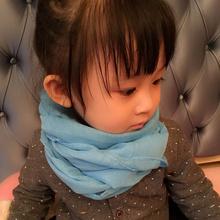 韩版纯色秋冬丝巾儿童柔软棉麻围巾