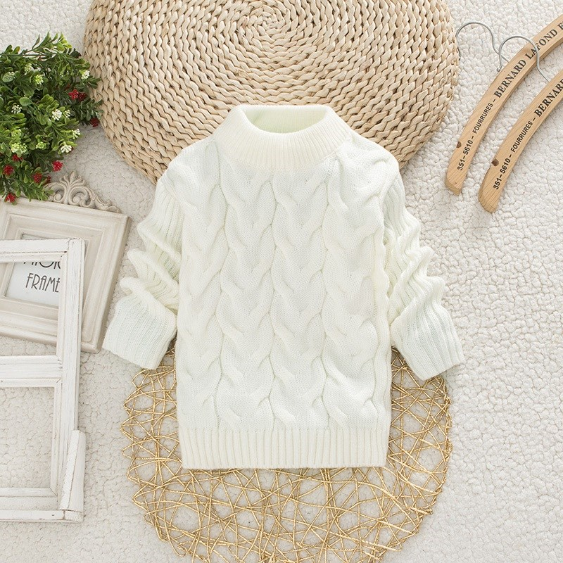 Childrens white sweater girls autumn and winter clothes boys high and low collar thickened black sweater middle and large childrens knitting sweater