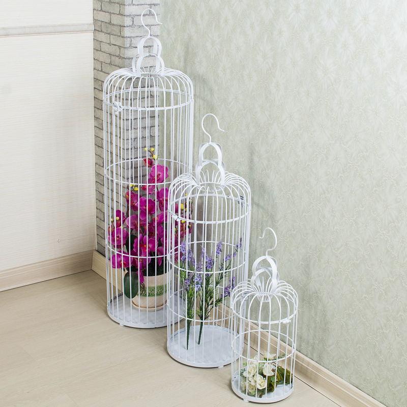 欧式铁艺鸟笼装饰品婚庆橱窗摆件婚礼金属摄影道具白色大号鸟笼
