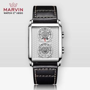 领50元券购买Marvin摩纹瑞士莫尔顿矩形休闲石英皮带男士手表 M024.14.25.64