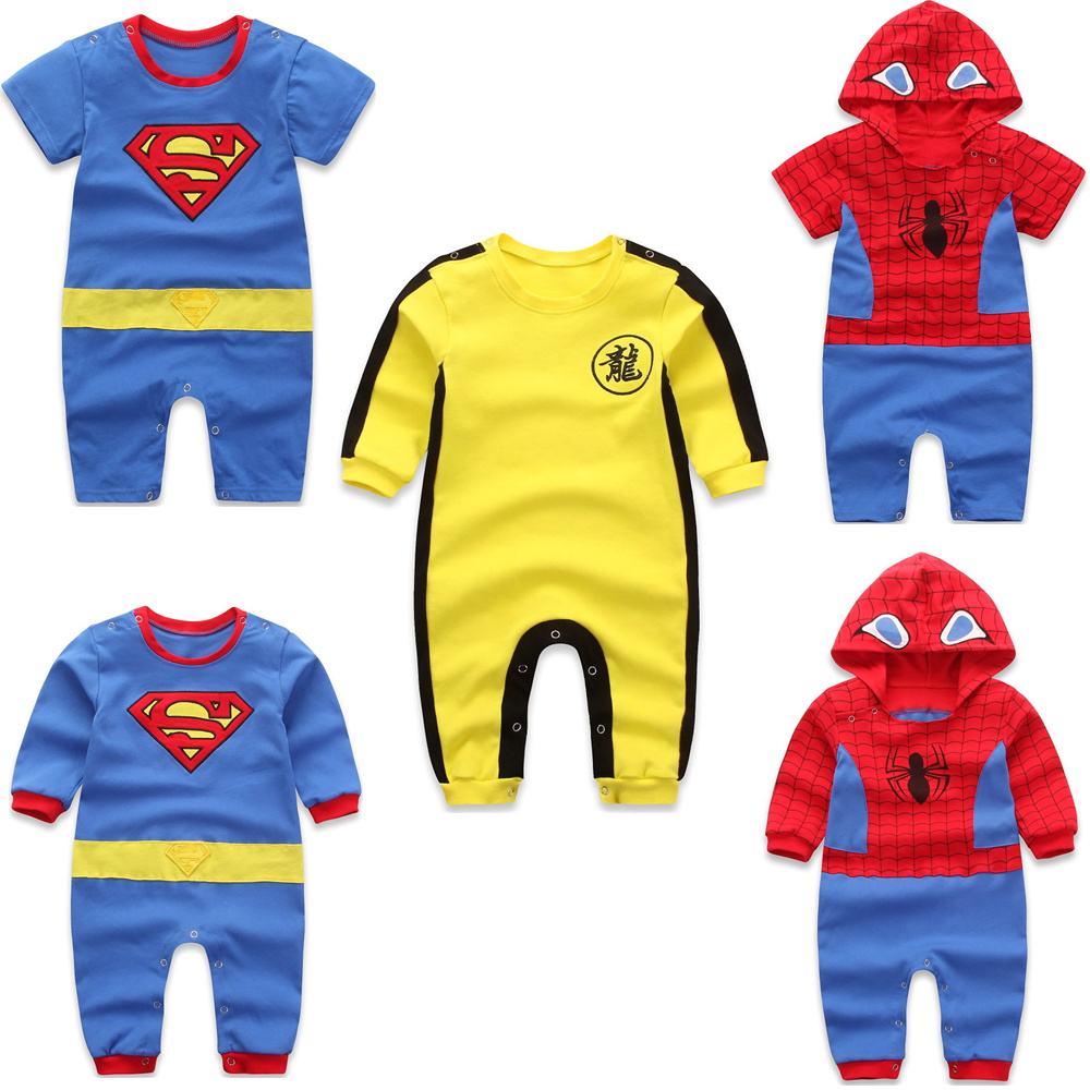 Spring and autumn Spiderman Superman Bruce Lee yellow one-piece hatsuit and one-piece climbing suit