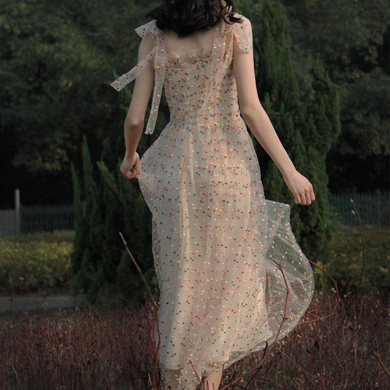 超仙法国小众渡假裙复古裙纱裙山本过膝a字吊带连衣裙2019新款夏