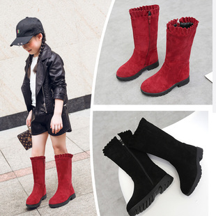 女童靴子2018新款冬季中筒靴中大童雪地靴女孩休闲靴公主靴儿童靴