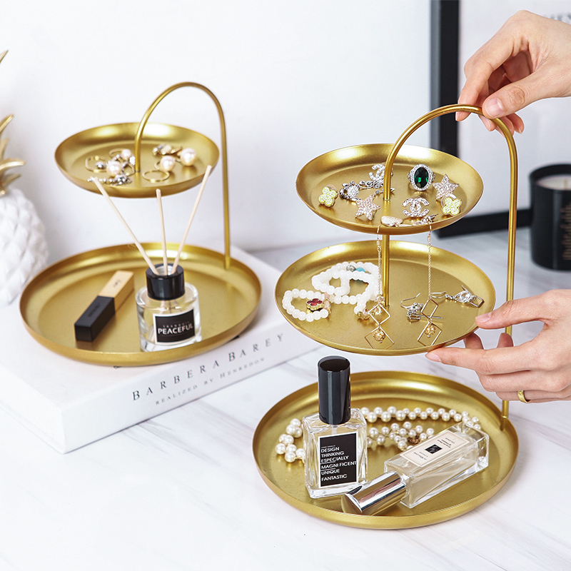 (用56元券)北欧金色铁艺饰品托盘双层首饰架桌面化妆品置物架简约创意收纳盒