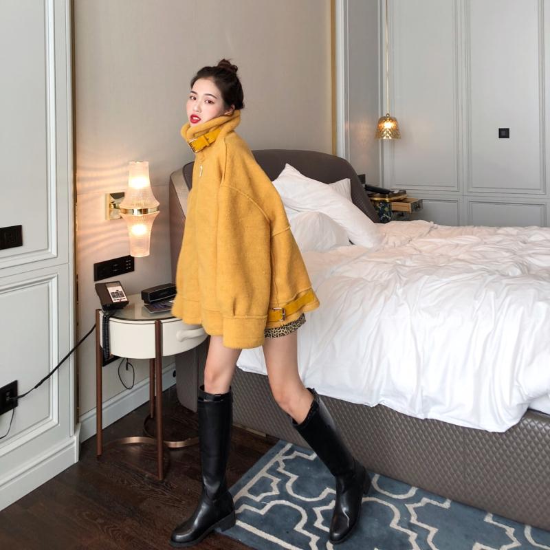 秋冬2018新款韩版加厚仿羊羔毛短款夹克外套女时尚宽松帅气机车服