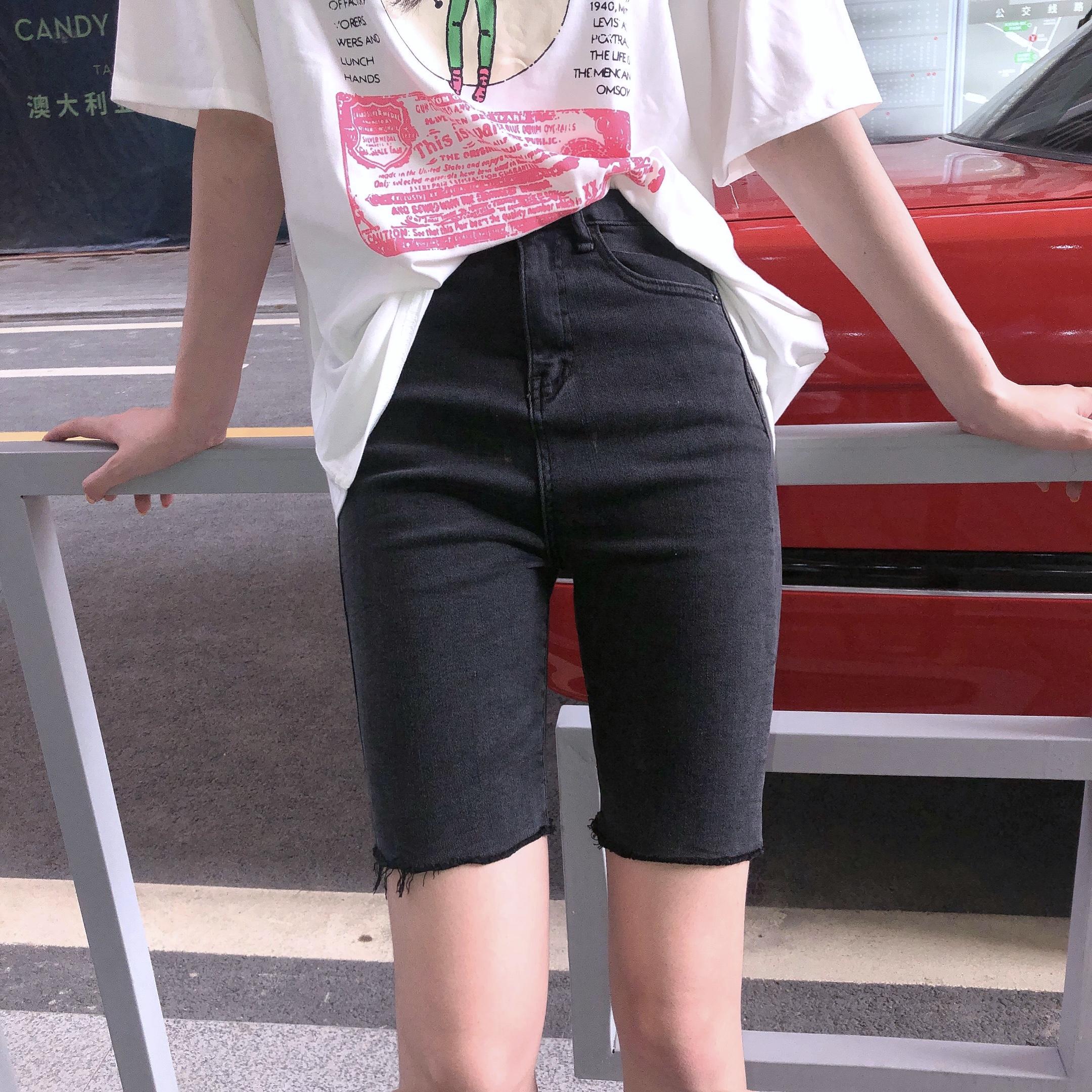 夏季黑色五分裤高腰短裤女百搭显瘦牛仔裤2019新款网红紧身中裤子