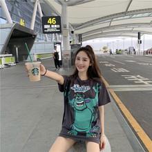 T恤女装 2019bck娱乐 ins潮 宽松中长款 学生上衣夏季 复古港味卡通短袖