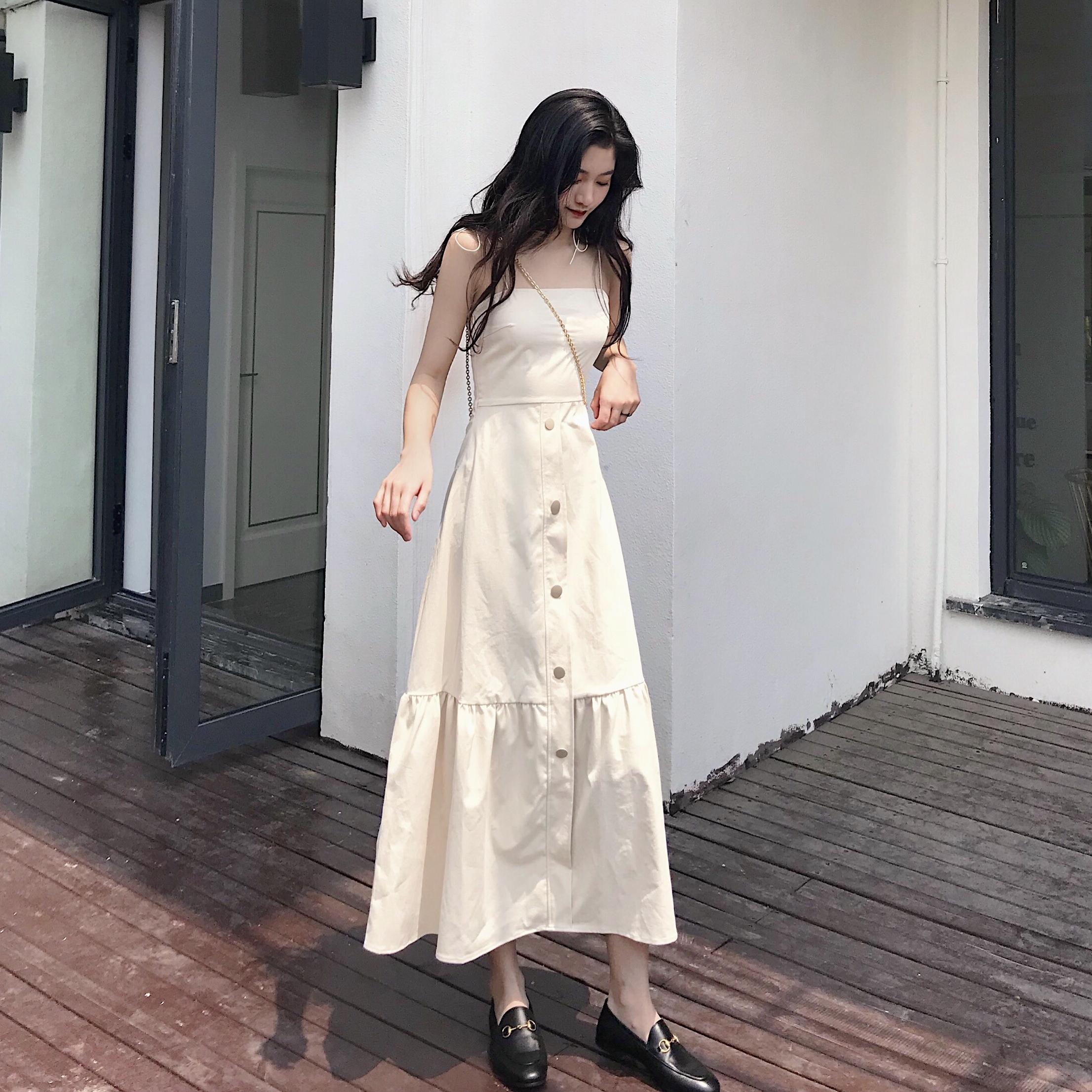 夏季韓國復古初戀裙抹胸高腰優雅荷葉邊長裙單排扣吊帶連衣裙女