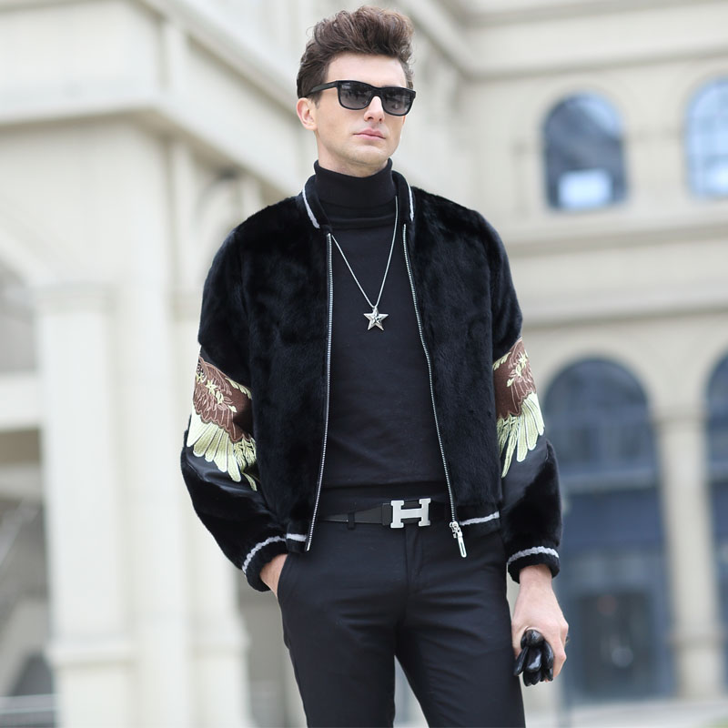 Baojiamei mink imported velvet mink jacket male embroidered mink fur baseball collar mink coat male wing