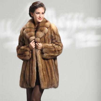 满天星 俄罗斯野生纯紫貂皮大衣女 进口整貂皮草外套水貂王富贵女