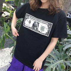 百搭上衣宽松字母钞票印花中长款短袖T恤1318#(实拍已出货有视频